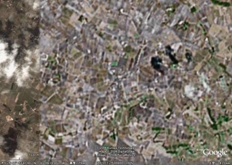 フランス世界旅行:サン・テミリオン地域 ↑グーグルアースで『サン・テミリオン地域(フランス)』を